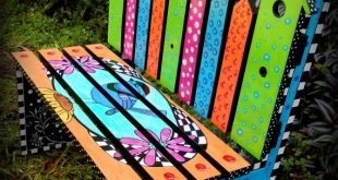 Whimsical Bird House Bench, Whimsy Bench, Children's Bench, Garden Bench, Colorful Hand Painted Kids' Park Bench, Bird, Flowers