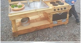 Having a mud kitchen in the house outdoor with the beautiful creation of wood pa...