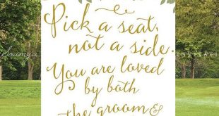PRINTABLE Pick a Seat Not a Side Wedding Sign, Gold and White Garden Wedding Sig...