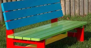 A brightly painted wooden garden bench designed for toddlers aged 2 to 5. Great ...