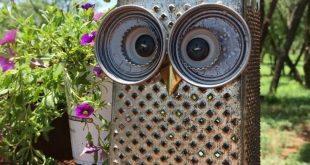 Ausgefallene Gartendeko selber machen aus alten Küchenutensilien