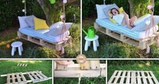 DIY Pallet Wood Swing Bed # geschwungene # Garten # Palettenrecycl