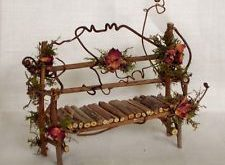 Fairy House Miniature Doll TWIG Furniture GARDEN BENCH Artisan Crafted Hand Made...