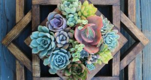 Geometric Vertical Garden in shades of blue and yellow. Please allow 2 weeks for...