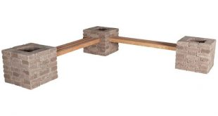 Pavestone Rumblestone RumbleStone 114 in. x 24.5 in. x 17.5 in. Concrete Garden Bench/Planter Kit in Cafe