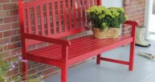 5-Ft Outdoor Garden Bench in Red Wood Finish with Armrest Q280-CPB5FT15183