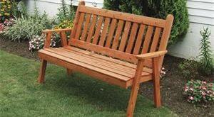Amish Cedar Wood Traditional English Garden Bench