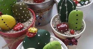 Gemalte Kaktus-Steingarten Einfache Videoanweisungen