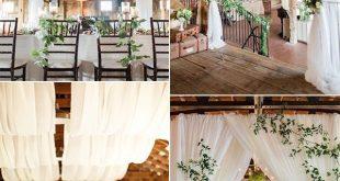 schicke Scheune Hochzeitsempfang Ideen mit Stoff drapieren #drapieren #hochzeit