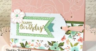 Birthday Bouquet and Rose Garden birthday card featuring Stampin Up! stamps, ink...