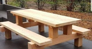 Cool picnic table made with posts