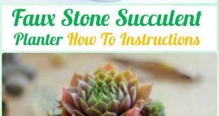 DIY Faux Stone Succulent Garden Mini Garten Anleitung-DIY I ... #Teaching #Fair #Instruction #Garden # Planter - Ayse Inceoglu